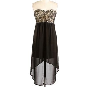 High low strapless dress, lace bodice, padded bust